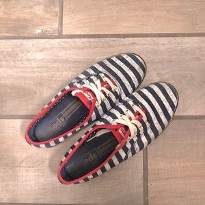 Keds Striped Dark Blue White Canvas Flats Lace up